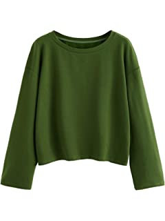 8abdb29a14e577 SweatyRocks Women's Casual Long Sleeve Tops Raw Cut Pullover Sweatshirt