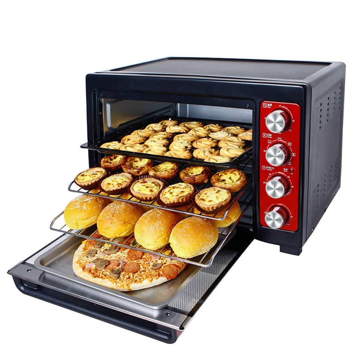 THOR-YAN ミニオーブン - ミニオーブン38 L家庭用電気オーブン多機能ベーキング上下独立温度制御オーブン -46 オーブン   B07NWYR6TH
