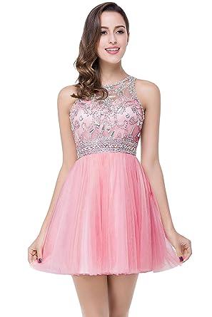 0db69def3de94f Damen elegant charmant Tüll Abendkleid Brautjungfernkleid Partykleid A-Linie  Ballkleid Heimkehrkleider Rosa Gr.46: Amazon.de: Bekleidung