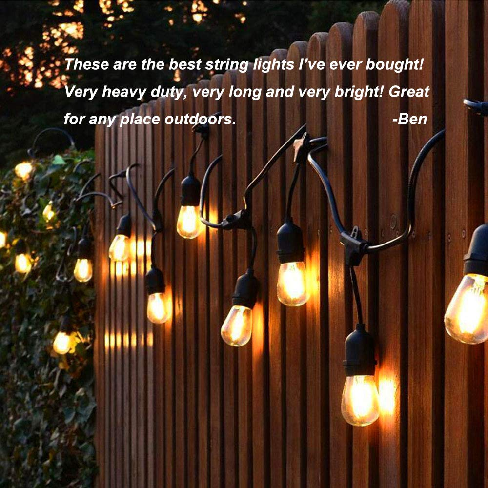 Classyke 48ft Indoor Outdoor String Lights for Patio Garden Yard Deck Cafe Dimmable Weatherproof Commercial Grade [UL Listed] - Incandescent by Classyke (Image #5)