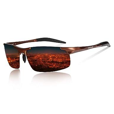 ec27939ed21 Queshark Men s Ultra Light Al-Mg Metal Frame Driving Sunglasses Polarized  Glasses Sports Eyewear Fishing