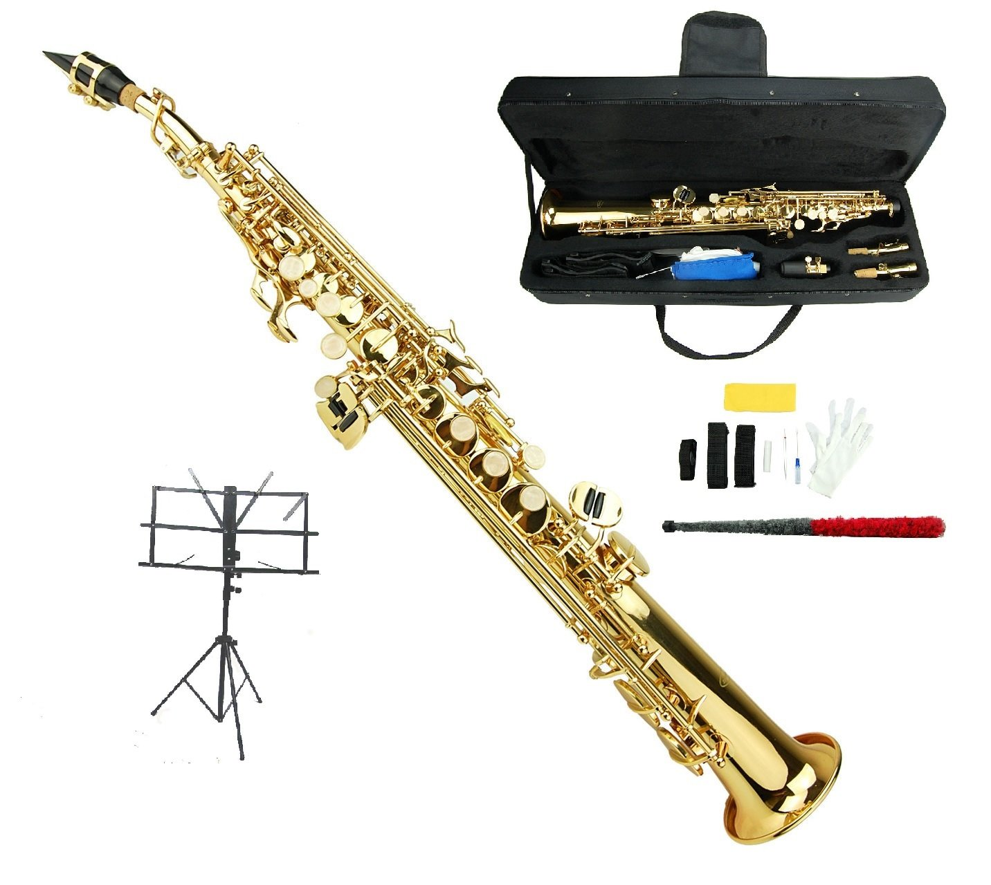Merano B Flat Gold Soprano Saxophone,Case,Reed,Screw Driver, Nipper,A Pair of Gloves,Soft Cleaning Cloth, Music Stand by Merano