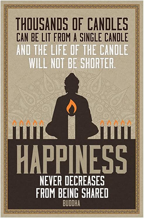 Thousands Of Candles Buddha Happiness Motivational Poster Art Print 24x36 inch