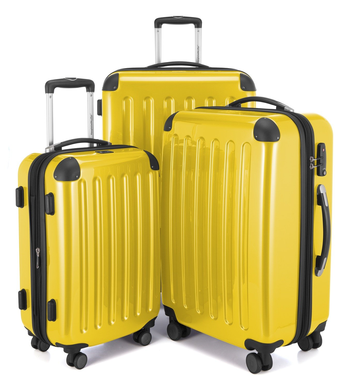HAUPTSTADTKOFFER Luggages Sets Glossy Suitcase Sets Hardside Spinner Trolley Expandable (20', 24' & 28') TSA (Alex Yellow)