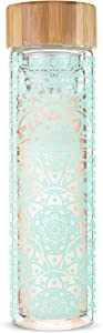 Pinky Up Blair Loose Leaf Tea Travel Infuser Mug Double-Walled Stainless Steel with Bamboo Lid, One, Jamila Glass
