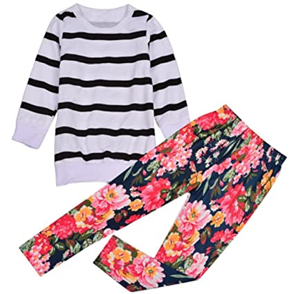 47f1fda1eec0 Amazon.com: HOT SALE!!2-9 Years Old Baby Girls Outfit Clothes Stripe ...
