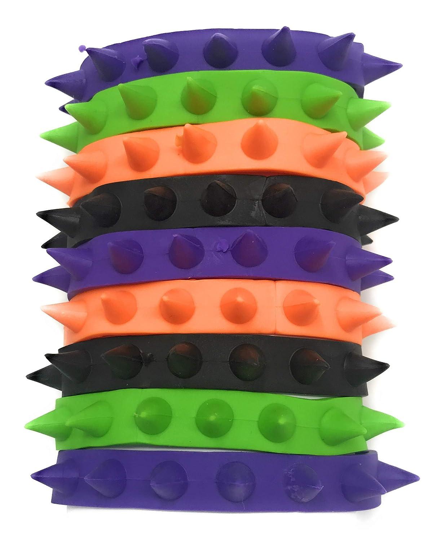 50 Bulk Rubber Spike Bracelet Assortment Purple Perfect Halloween Costume Jewelry in Black Green and Glow-in-the-Dark SVT Orange