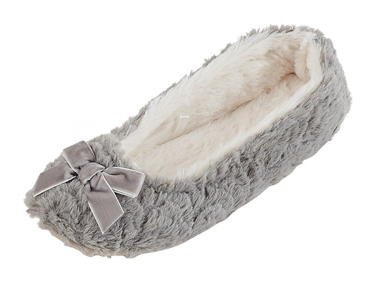 MIXIN Women's Ballerina Plush Soft Sole Indoor Slippers Grey US Size 8