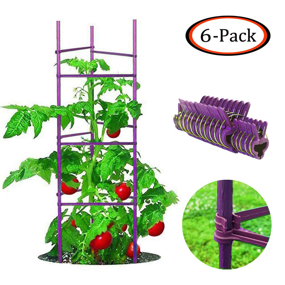 Growsun 5-ft 6-Pack Purple Tomato Supports Cage Plant Garden Stakes for Cucumber Fences Beans,120 Counts Clips Include