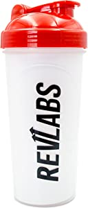 RevLabs 24oz Shaker Cup- Black RevLabs Logo on Clear Bottlle/Redtop- Empower Your Performance and Mix Supplements with Ease