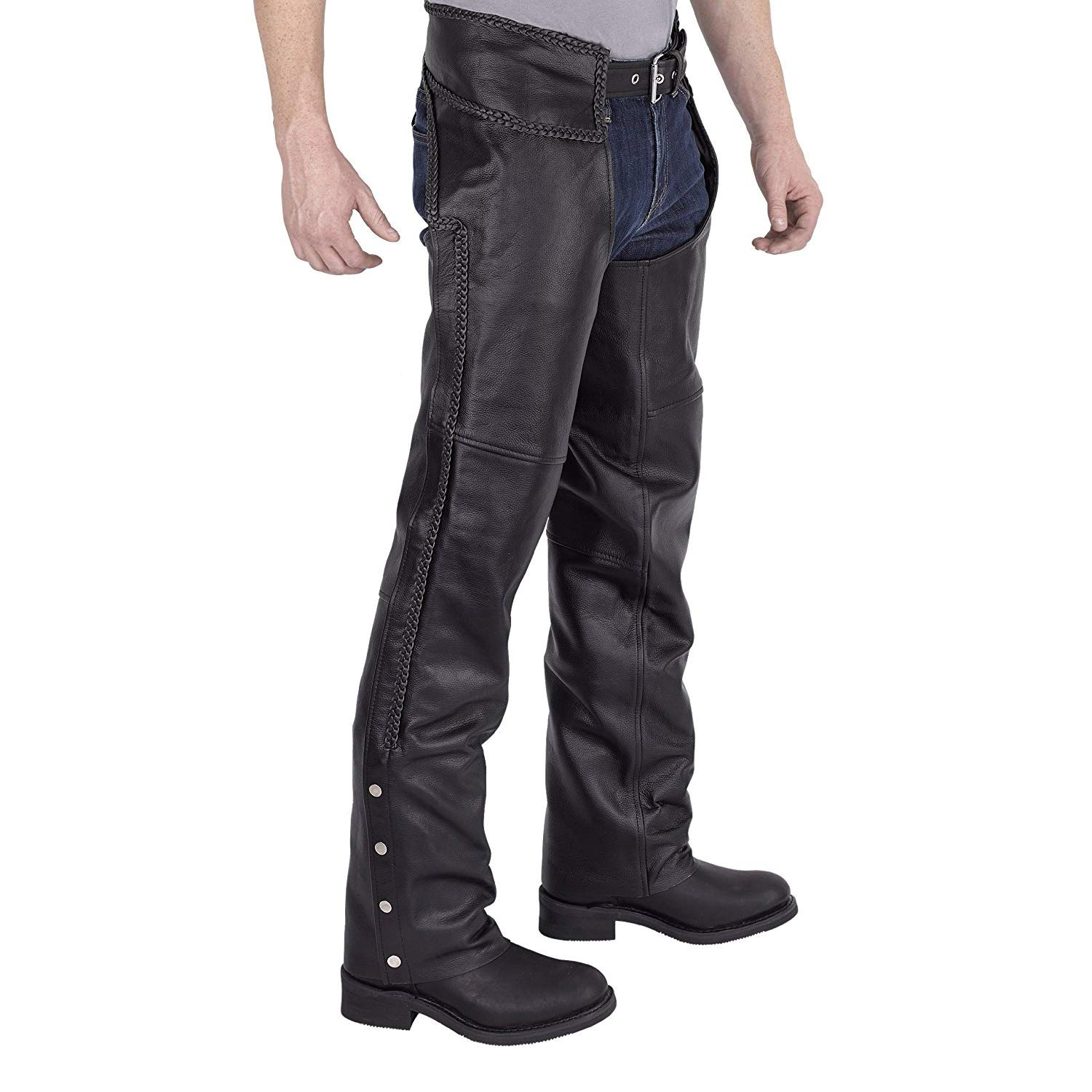Viking Cycle Leather Chaps - Braided Motorcycle Leather Chaps (4X-Large) Black by Viking Cycle