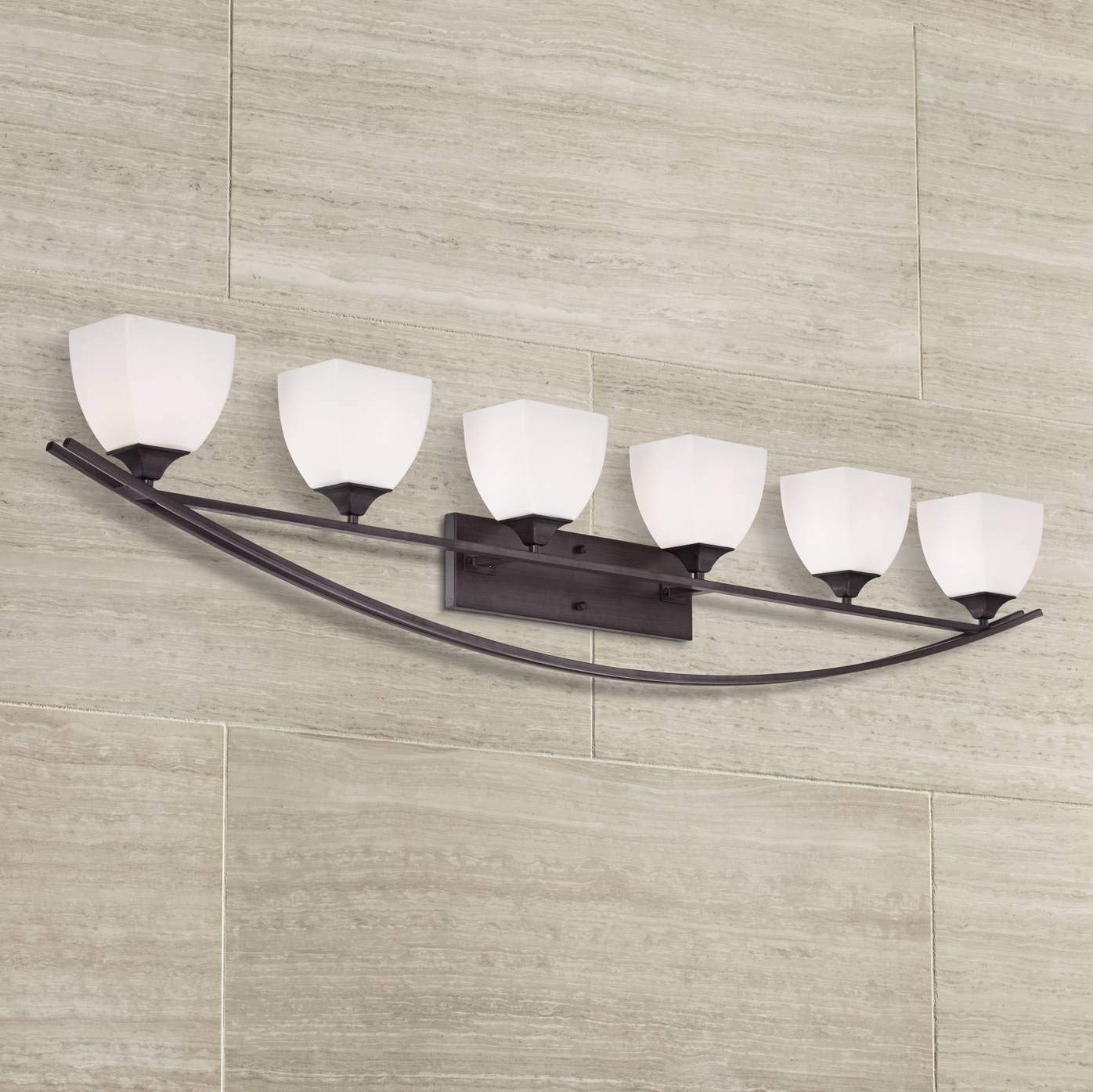 Jenisen Arch Modern Farmhouse Wall Light Bronze Hardwired 62 3 4 Wide 6-Light Fixture White Glass for Bathroom Vanity Mirror – Franklin Iron Works