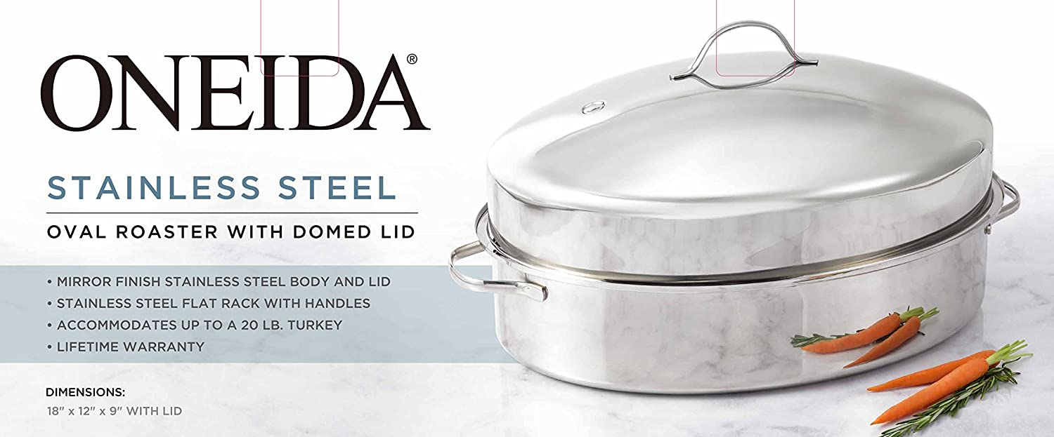 Oneida Stainless Steel Oval Roaster With Domed Lid