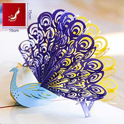 Amazon meiyiu 3d printer paper carving peacock greeting card meiyiu 3d printer paper carving peacock greeting card diy holiday card for mothers day red envelope m4hsunfo