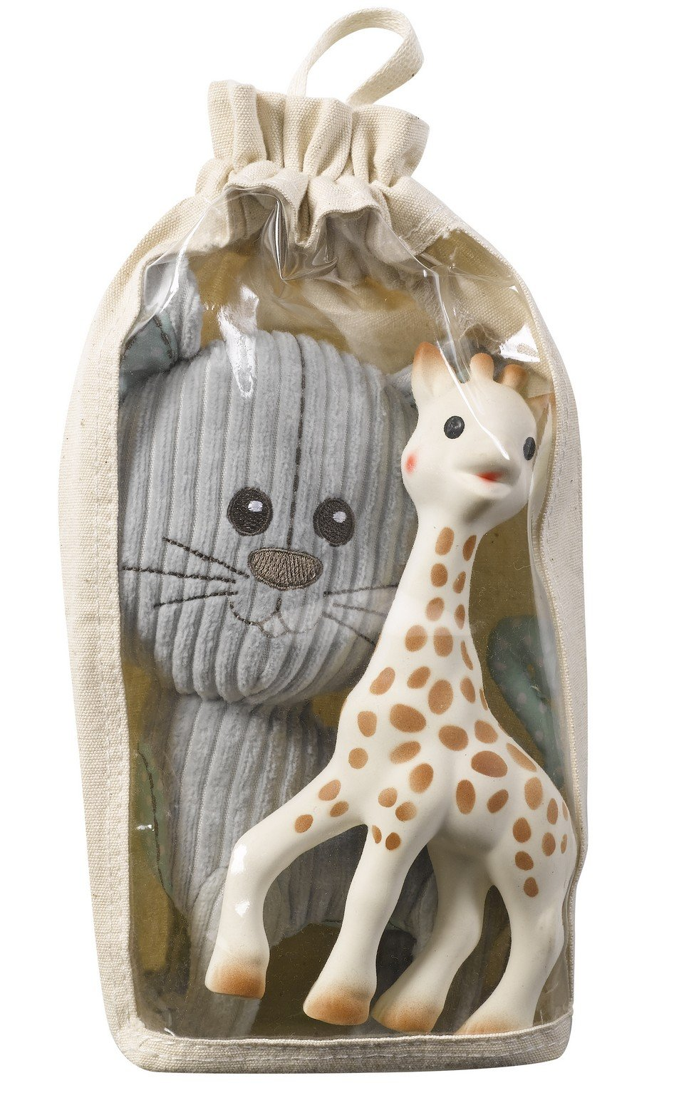 Vulli Cotton Bag Toy Set, Sophie the Giraffe and Lazare the cat
