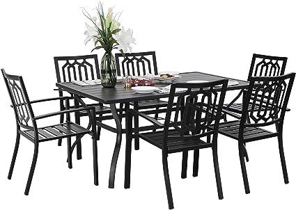 Amazon Com Phi Villa 7 Piece Metal Outdoor Patio Dining Bistro Sets With Umbrella Hole 60 X 37 8 Rectangle Patio Table And 6 Backyard Garden Outdoor Chairs Black Garden Outdoor