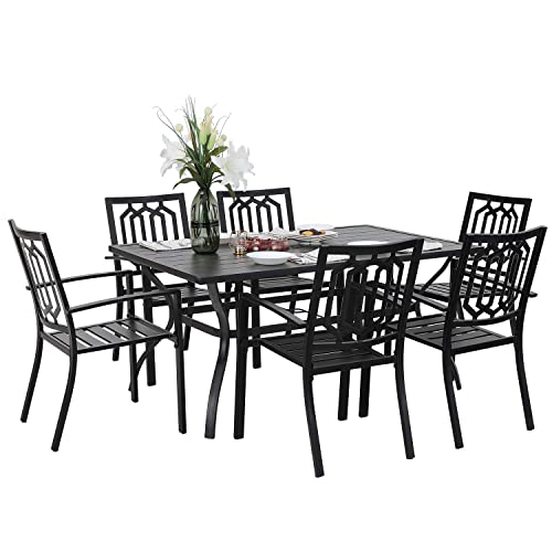 PHIVILLA 7 Piece Metal Outdoor Patio Dining Bistro Sets with Umbrella Hole – 60 x 37.8 Rectangle Patio Table and 6 Backyard Garden Outdoor Chairs, Black