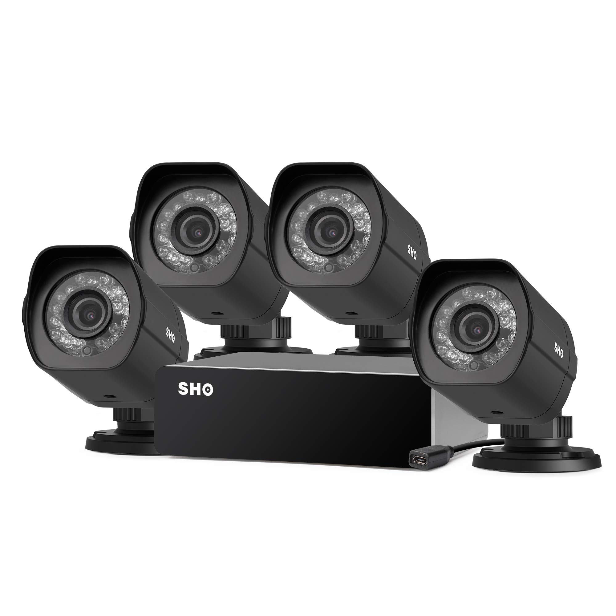 SHO 4 Pack 720P HD Weatherproof sPoE Security Camera w/8CH sPoE Repeater for Power & Data Transmission, Remote Monitoring (NVR not Included) - [Free 6-Month Cloud Service for Recording] by Zmodo