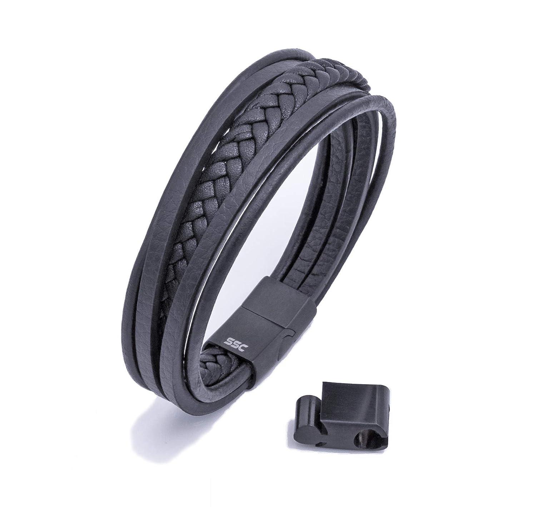 SSC-1001 starker Edelstahl Magnetverschluss SSC Premium Lederarmband hochwertiges Etui zum Verschenken Gr/ö/ße anpassbar