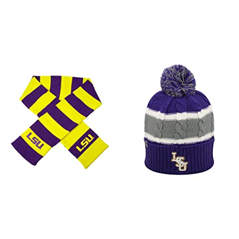 61761a1eff3 ... canada ncaa lsu tigers striped rugby scarf and windy beanie hat 2 pack  bundle d0284 f49da