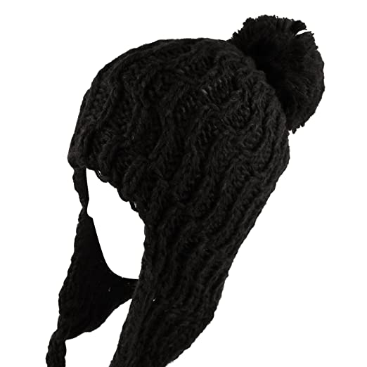 Image Unavailable. Image not available for. Color  Morehats Pom Pom Crochet  Knit Trapper Beanie Winter Ski Warm Hat ... 9ef091b1f4d5