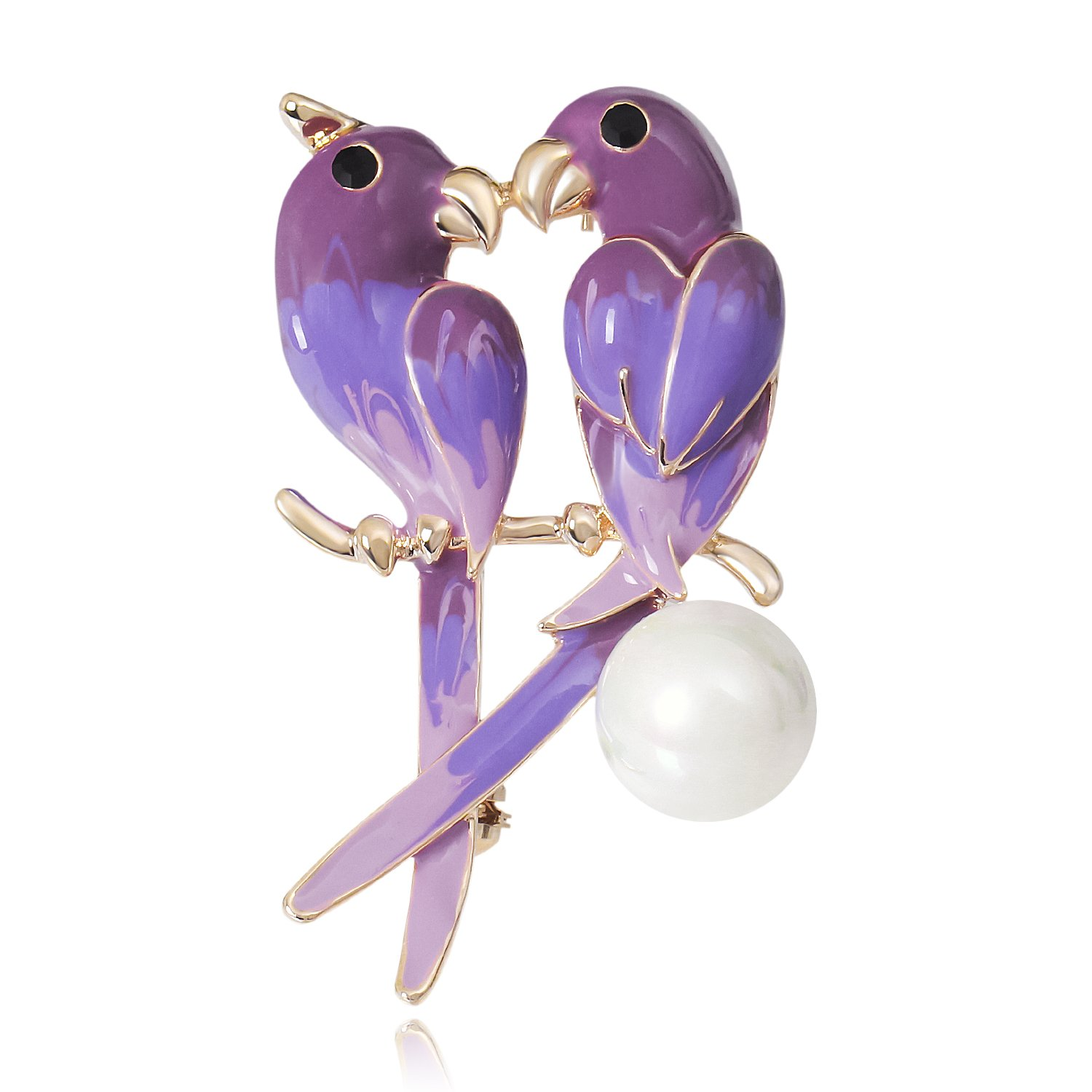 DMI Unique Jewelry Gold-Tone Simulated Pearl Enameled Sweet Love Bird Pin Brooch Purple