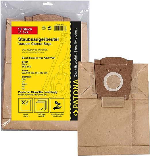 10x Bolsas de aspiradora papel para Bosch Dimensión / Type A B C ...