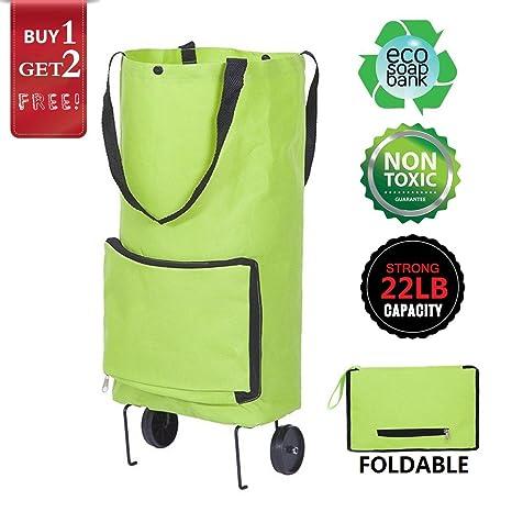 Trolley Dolly Rueda Compras Bolsas reusables plegable con ruedas carrito de la compra bolsa Softshell Tote