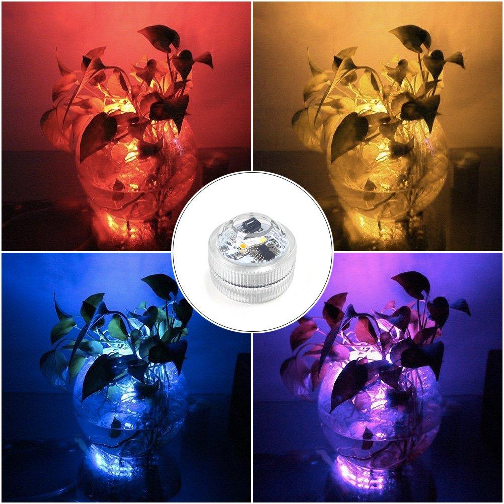 10pcs Amteker RGB Luces Sumergibles LED, Luces Subacuáticas Impermeables Cambio de Color para Tanque de Peces, Jarrón, Estanque, Piscina, Bañera, Acuario y ...