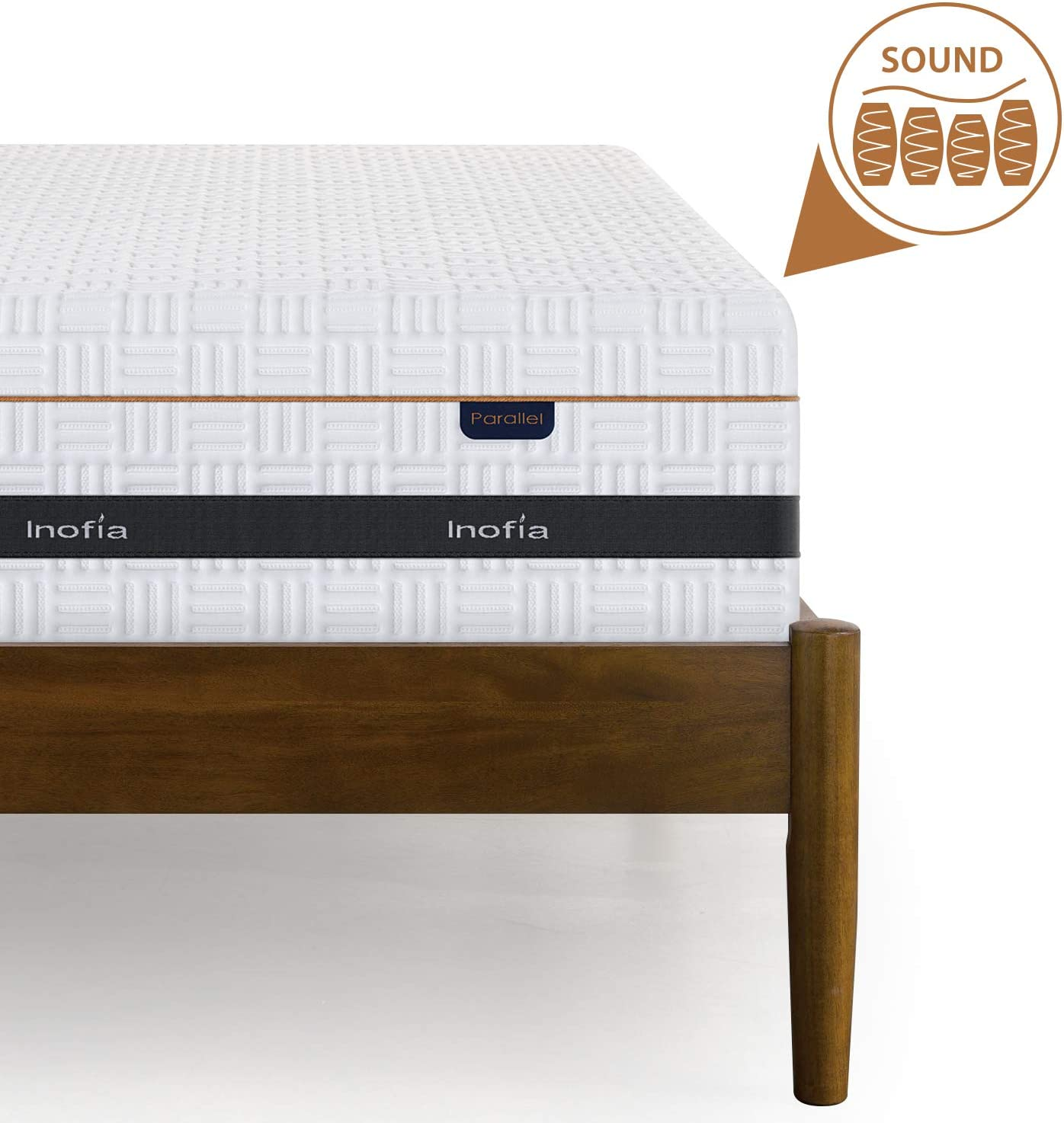 Memory Foam and Spring Round Top Mattress,7-zone Barrel-type Less Friction Spring,Premium Flexible Cover OEKO-TEX/®100,100Night Trial Sleep,Parallel Collection Height 25cm Inofia Double Mattress