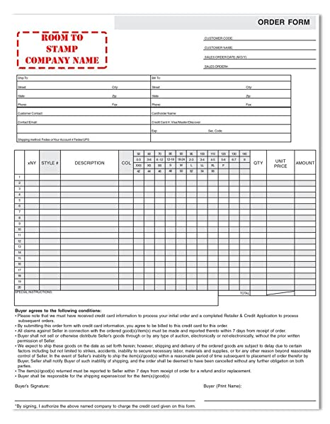 AmazonCom  Apparel Order Form  Blank Purchase Order Forms