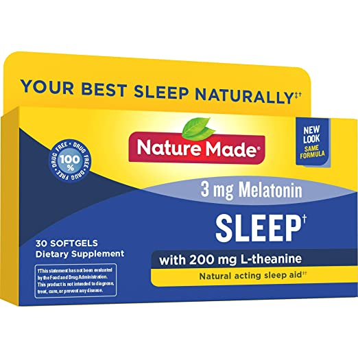 Nature Made Sleep Softgels, 30 Count for Supporting Restful Sleep  (Packaging May Vary)