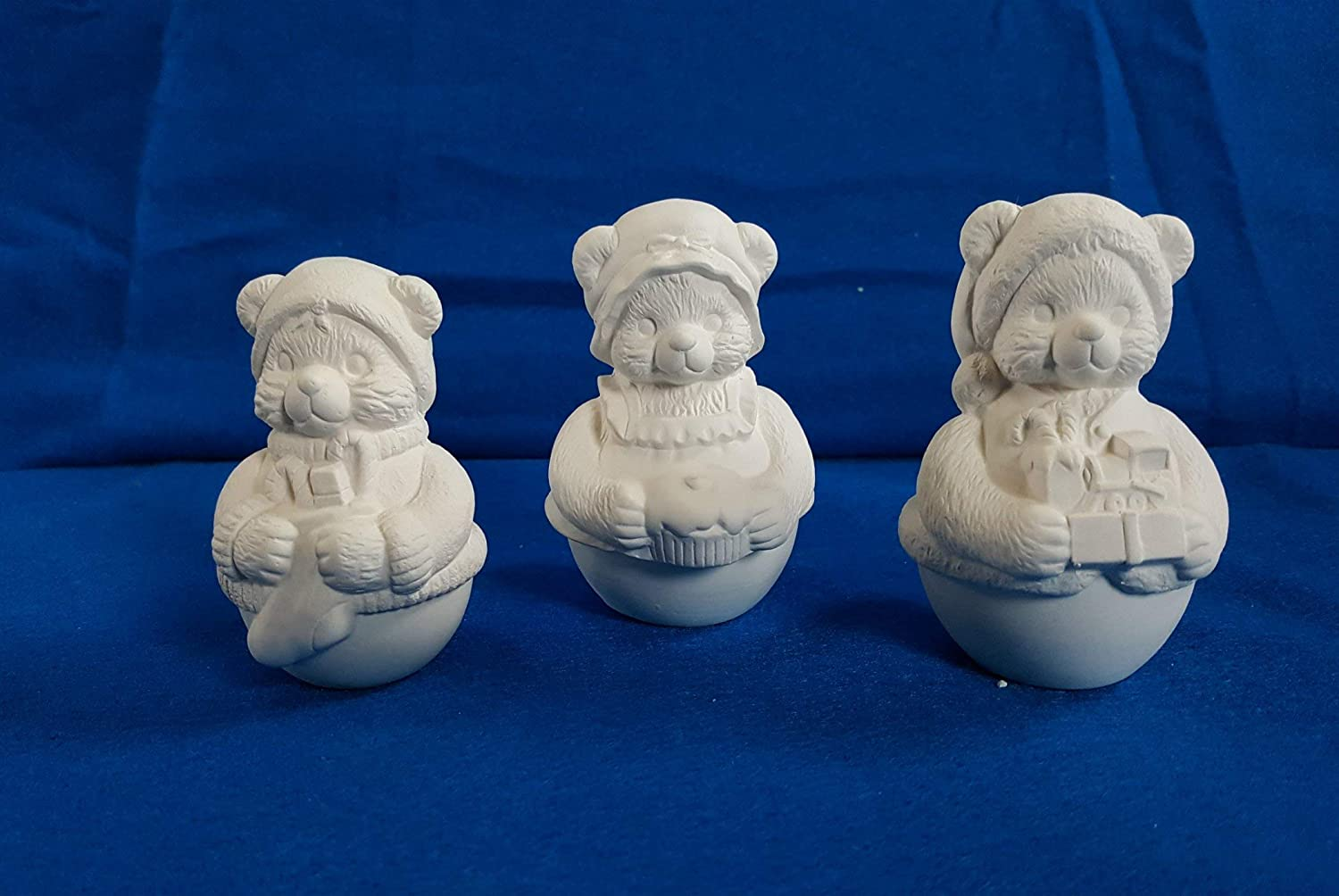 3 Roly Poly Bear Figurine unpainted ceramic bisque ready to be painted