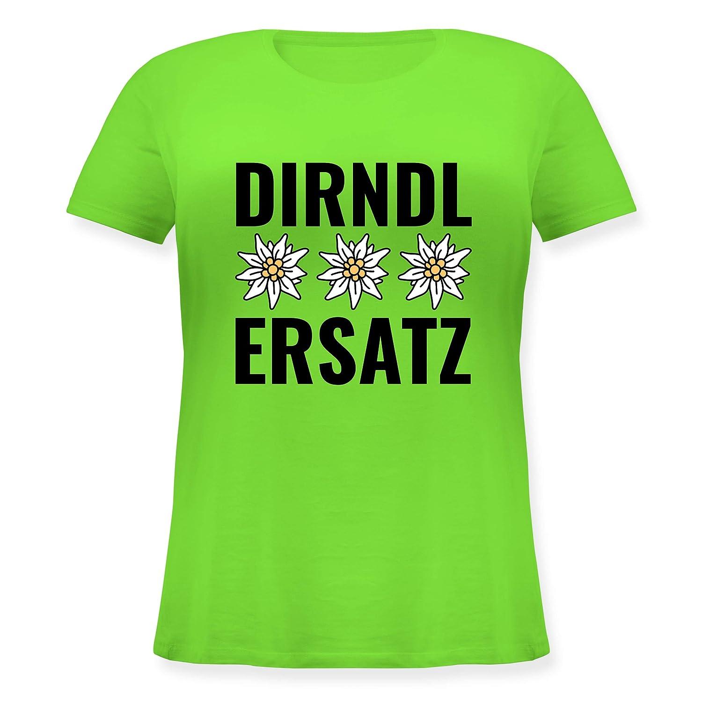 Oktoberfest Damen Lockeres Damen-Shirt in gro/ßen Gr/ö/ßen mit Rundhalsausschnitt Dirndl-Ersatz mit 3 Edelwei/ß