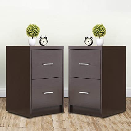 Amazon.com: Mecor Nightstands End Table with 2 Drawers MDF Square ...