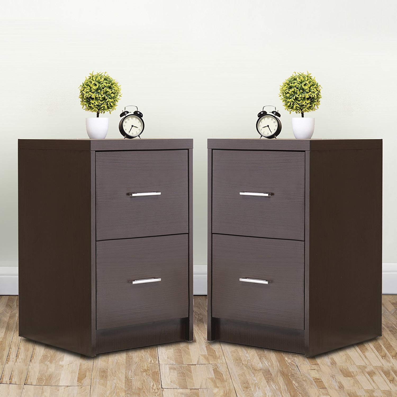 Mecor Nightstands End Table with 2 Drawers MDF Square Accent Table Bedroom Furniture Espresso Finish,Set of 2