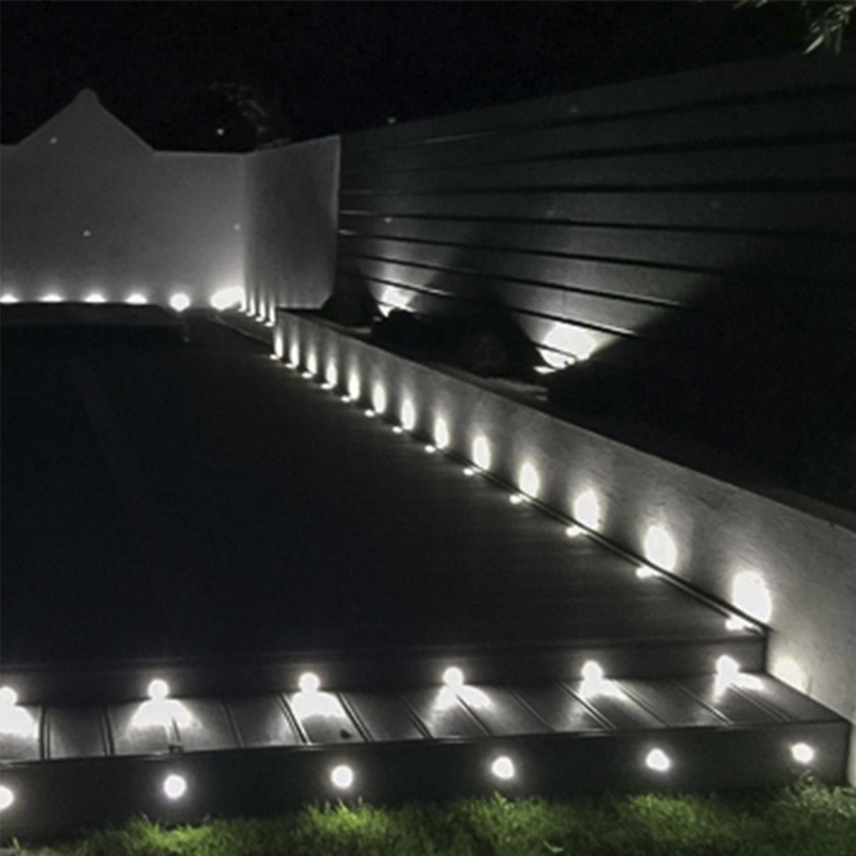 Woodside Set Of 10 30mm LED Decking Deck Plinth Lights Aluminium Blue