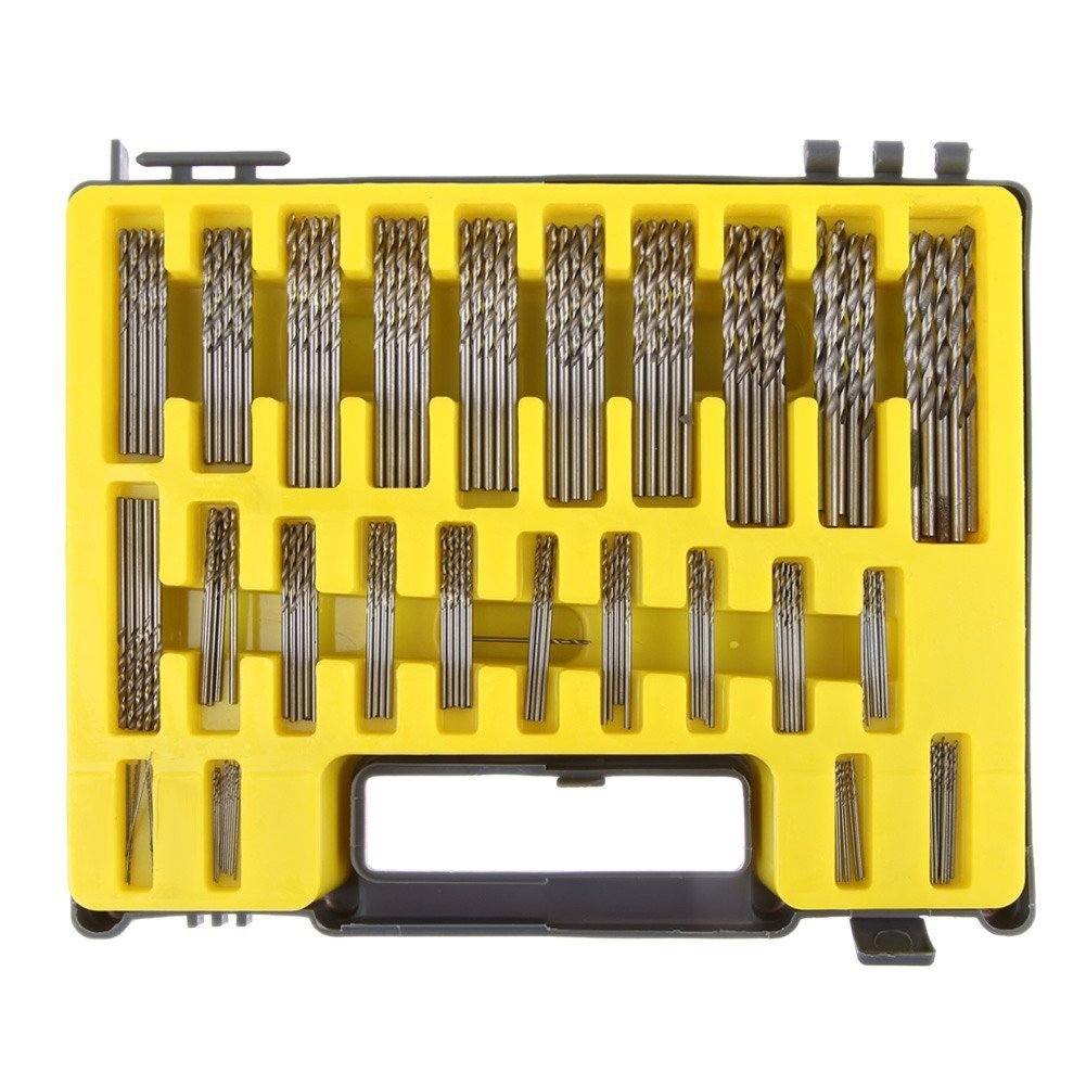 Demiawaking 0.4 - 3.2 mm 150 Pcs Mini Twist Drill Bits Kit HSS Micro Precision (150 pcs in set) UKPPLBDH778