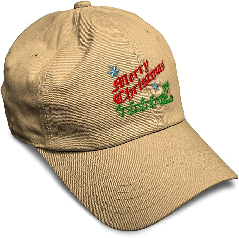 Custom Soft Baseball Cap Santa Merry Christmas Embroidery Twill Cotton