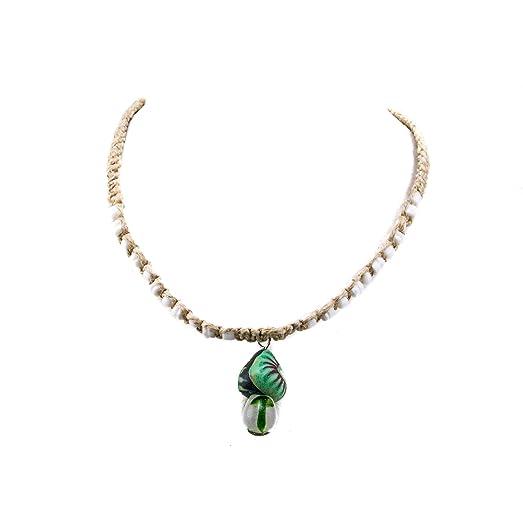 Amazon green fimo glass mushroom pendant on hemp choker green fimo glass mushroom pendant on hemp choker necklace with puka clam shell beads aloadofball Images