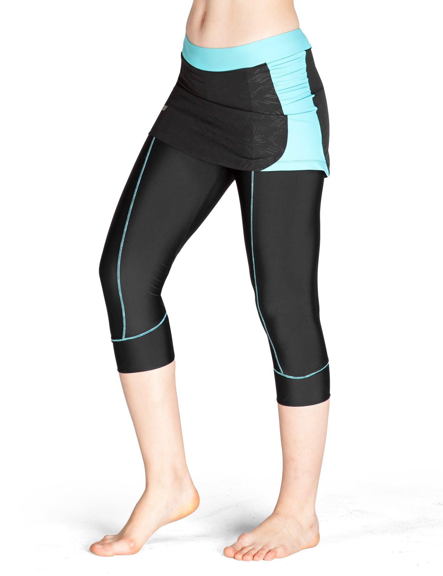 Lameda Women's Cycling Capri Pants Padded Skirted Shorts Cropped Leggings for Running Biking Green Large