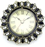 Welforth Desk Clock Black and White Crystals 3.75 Round