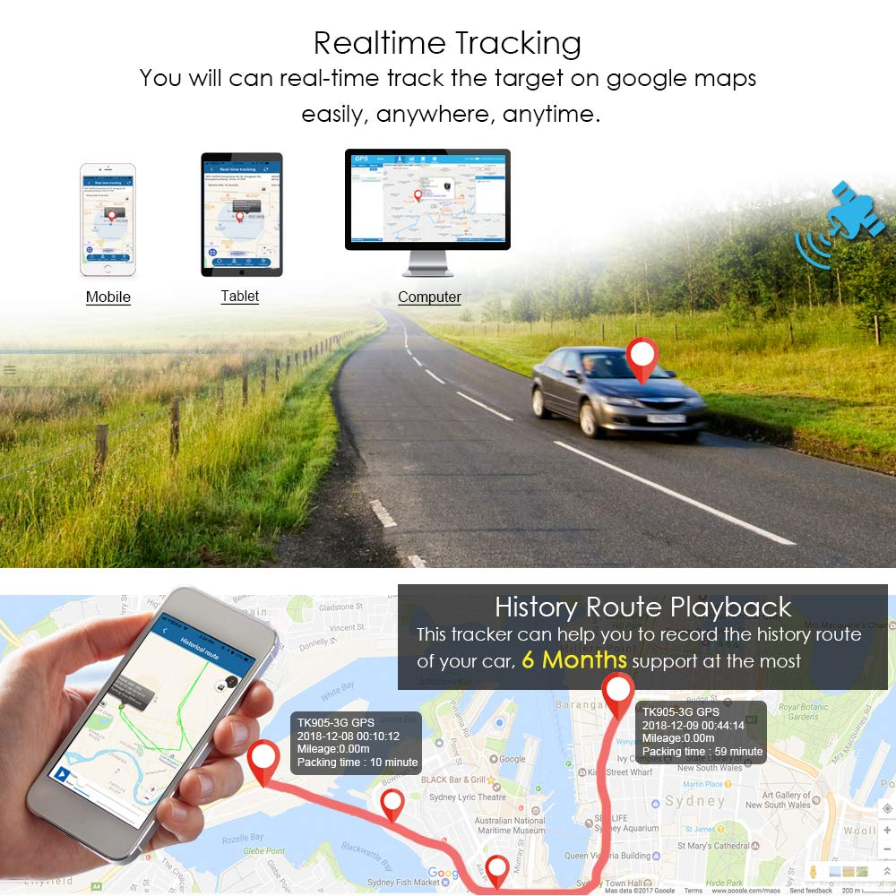 TKSTAR GPS Tracker for Vehicles Car Motorcycle Trucks Waterproof GPS Loctor Finder Strong Magnetic Realtime Track Accurate Position Tracking Device 10000mah120 Days Long Standby TK915