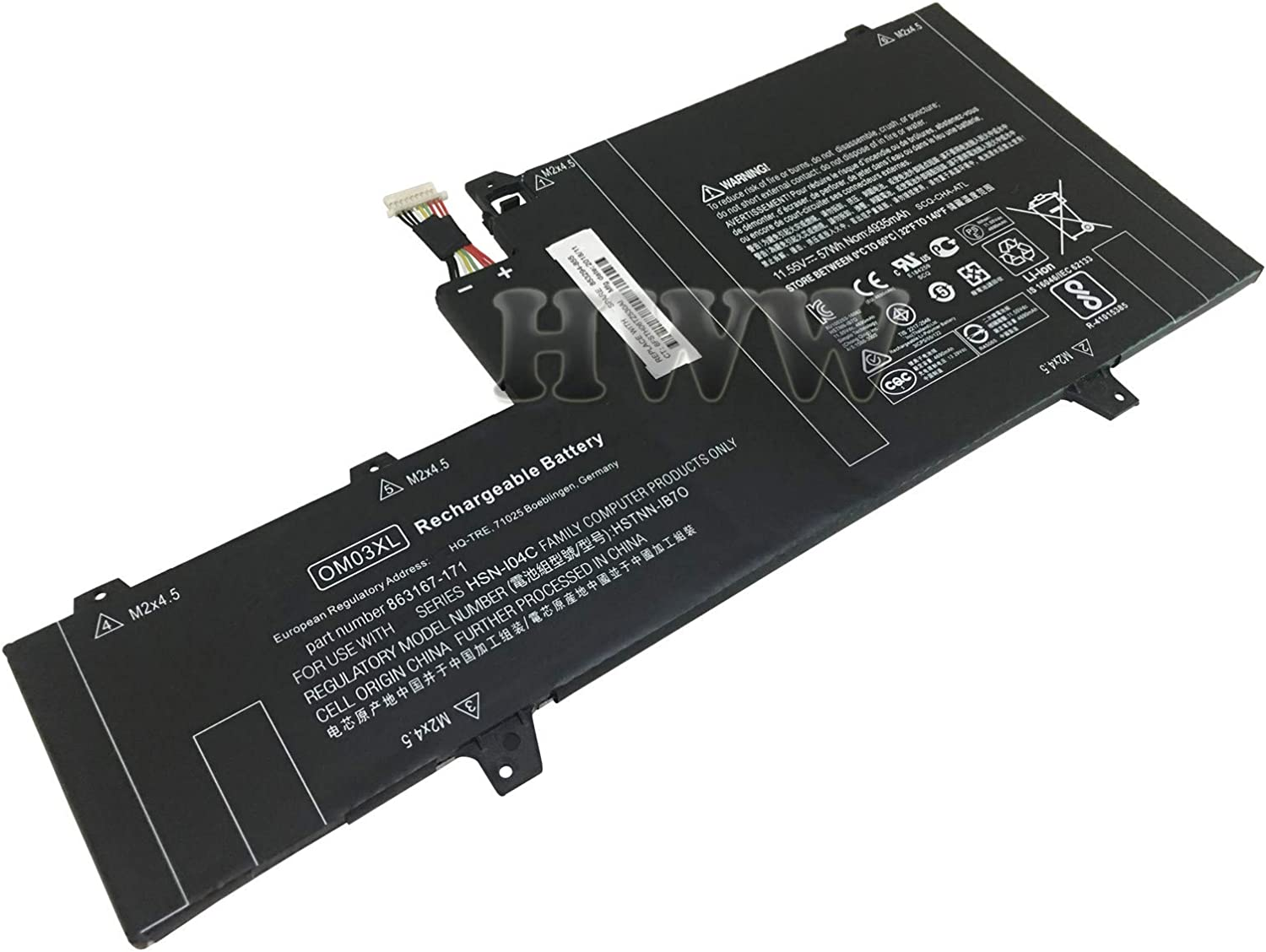 New 11.55V 57Wh OM03XL Battery Compatible with HP EliteBook X360 1030 G2 HSTNN-IB70 863167-1B1 Series