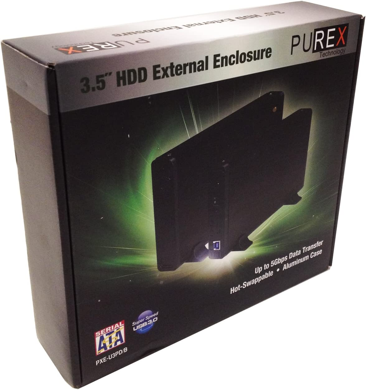 "PUREX Technology USB3.0 to 3.5/"" External SATA HDD Enclosure PXE-U3PD//B"