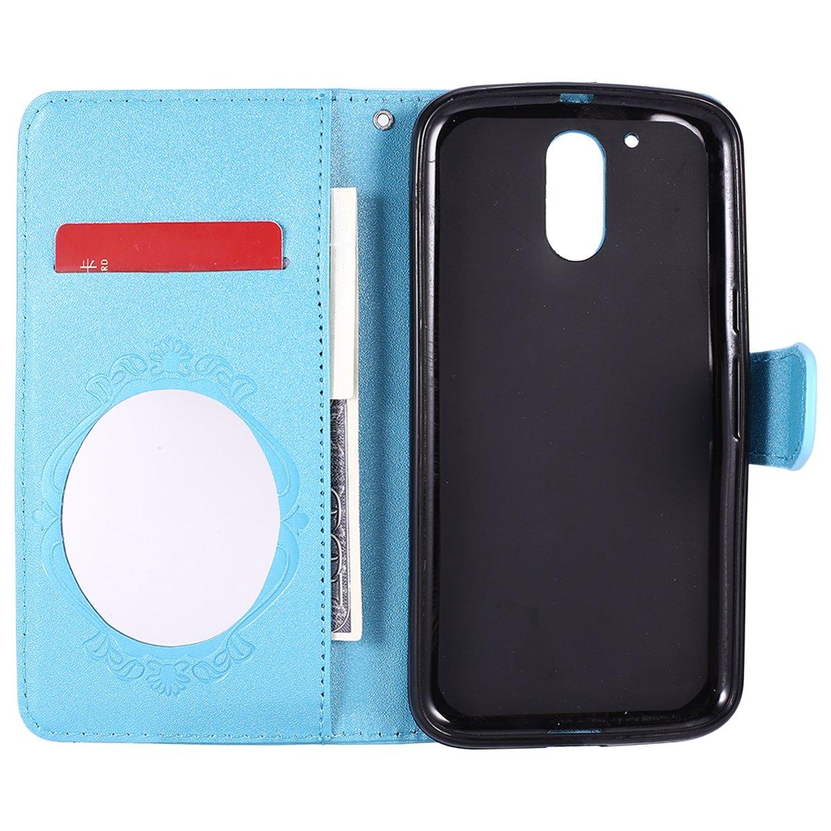 Blau Schmetterling Relief Spiegel Klapph/ülle Brieftasche Magnetische mit Standfunktion,EINWEG MoreChioce kompatibel mit Motorola Moto G4 H/ülle,kompatibel mit Motorola Moto G4 Leder Flip Case