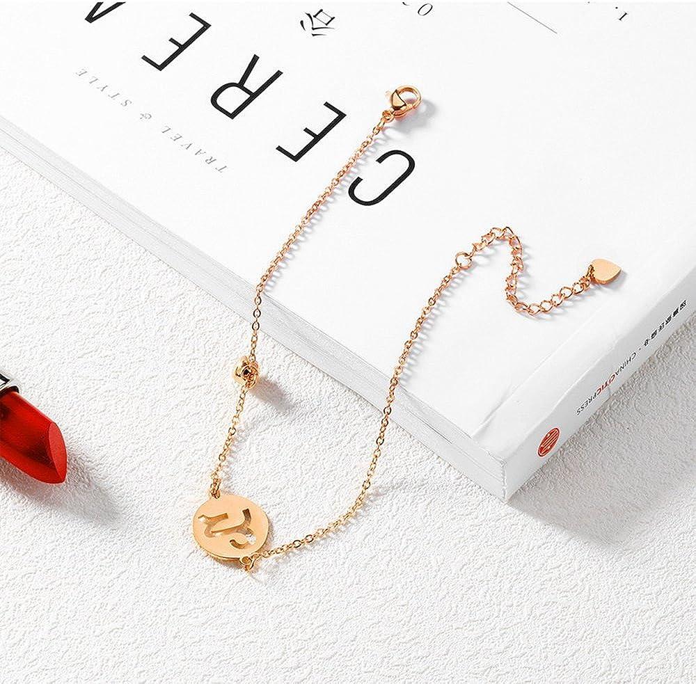 YOYOMA Zodiac Ankle Bracelet Women,Charm Constellation Anklet Bracelet Rose Gold Stainless Steel Bracelet