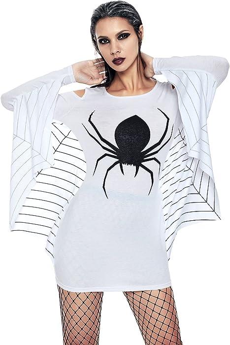 ef943baab6f CutePaw Women s Plus Size Spiderweb Smock Masquerade Halloween Cosplay  Costumes Dresses Jersey Dress