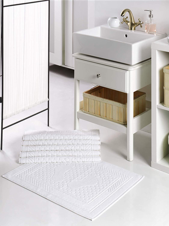 Baignoire Lavable Lavabo Douche Serviettes de Sol Blanc 100/% Coton Turc Tapis de Bain Astrea Textiles Tapis de Bain Tapis de Sol 2
