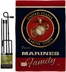 Breeze Decor Proudly Family Burlap Garden Flag-Set with Stand Armed Forces Marine Corps USMC Semper Fi United State American Military Veteran Retire Official House Yard Gift, 13